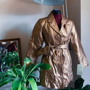 Gold Belted Leather Coat